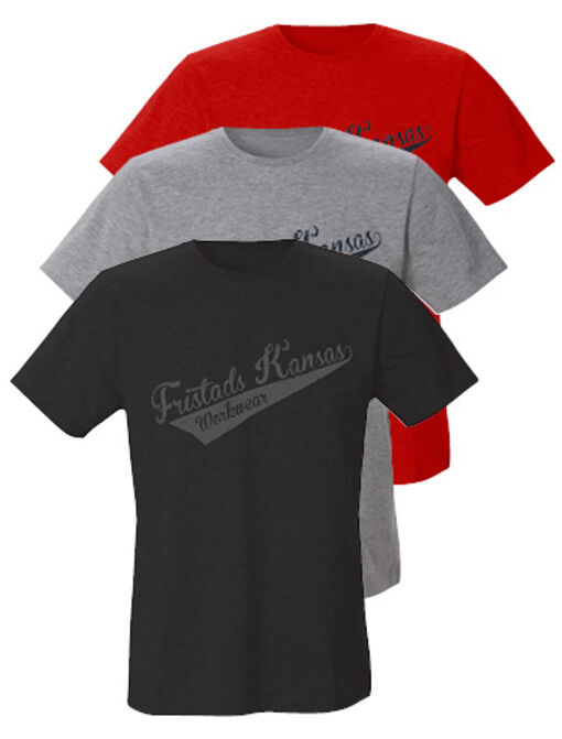 nieuw katoenen T-shirt 7004 LZT with fristads kansas logo in black, grey and red